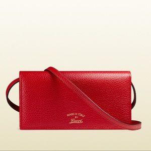 New Gucci Red Crossbody Bag / Wallet